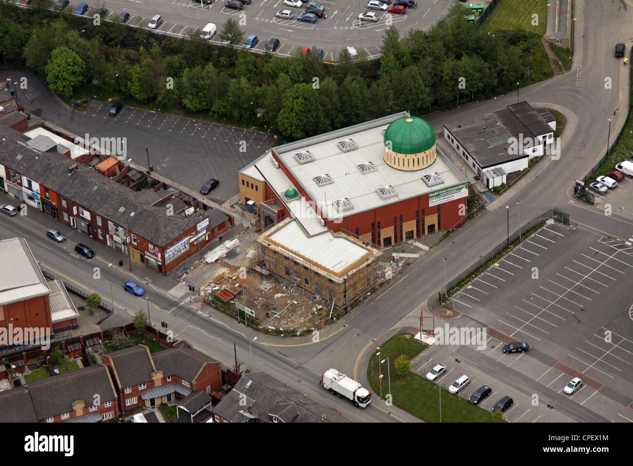 aerial view of a new Mosque extension in Oldham - Stock Image