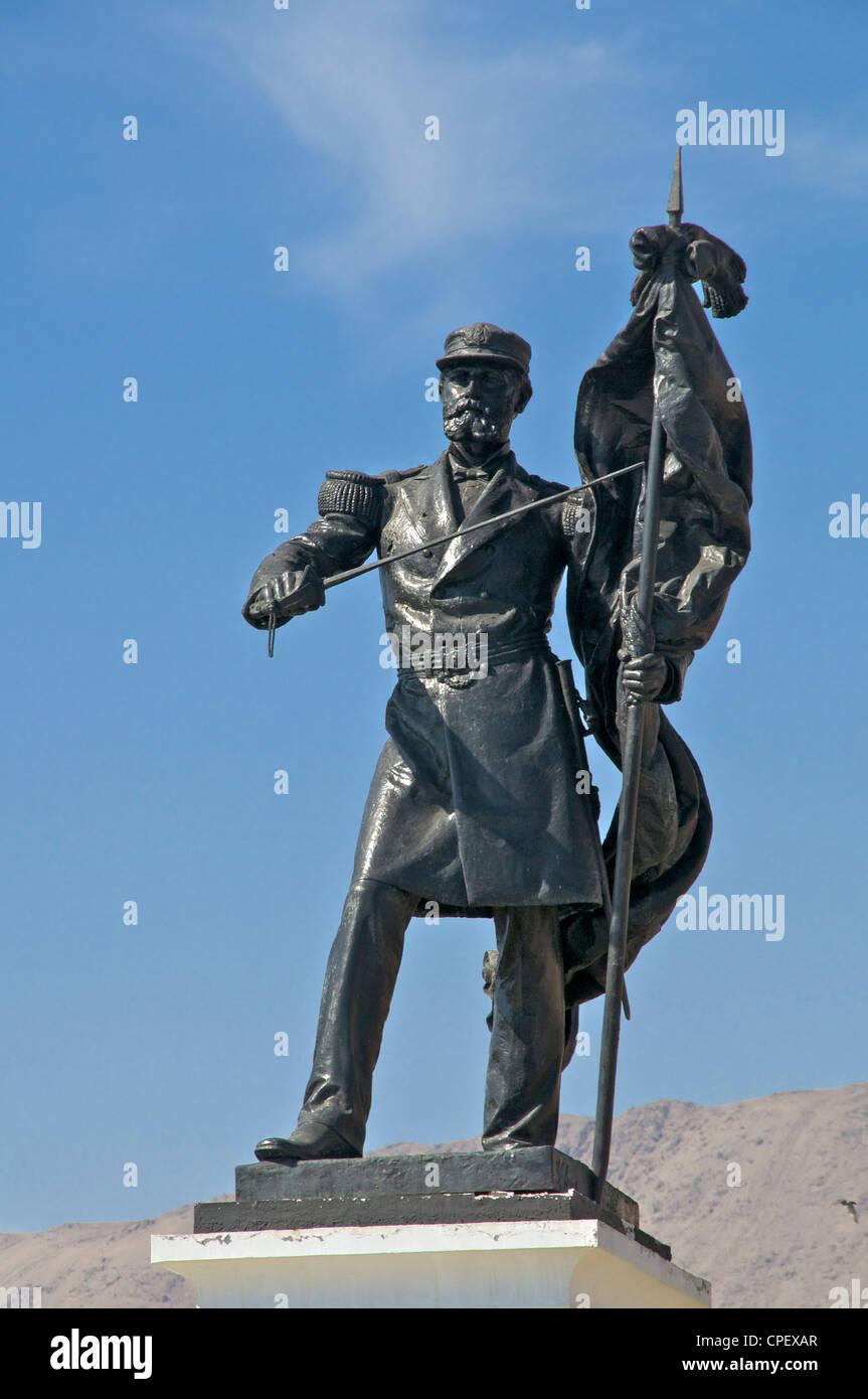 Statue of naval hero Arturo Prat Iquique Chile - Stock Image
