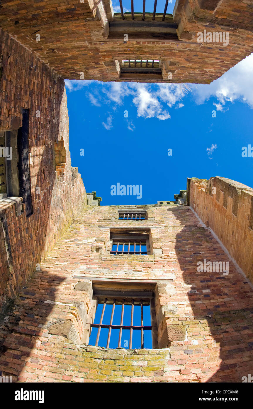 Detail of prison bars in the main tower of ruins of main prison building at Port Arthur penal colony in Tasmania - Stock Image