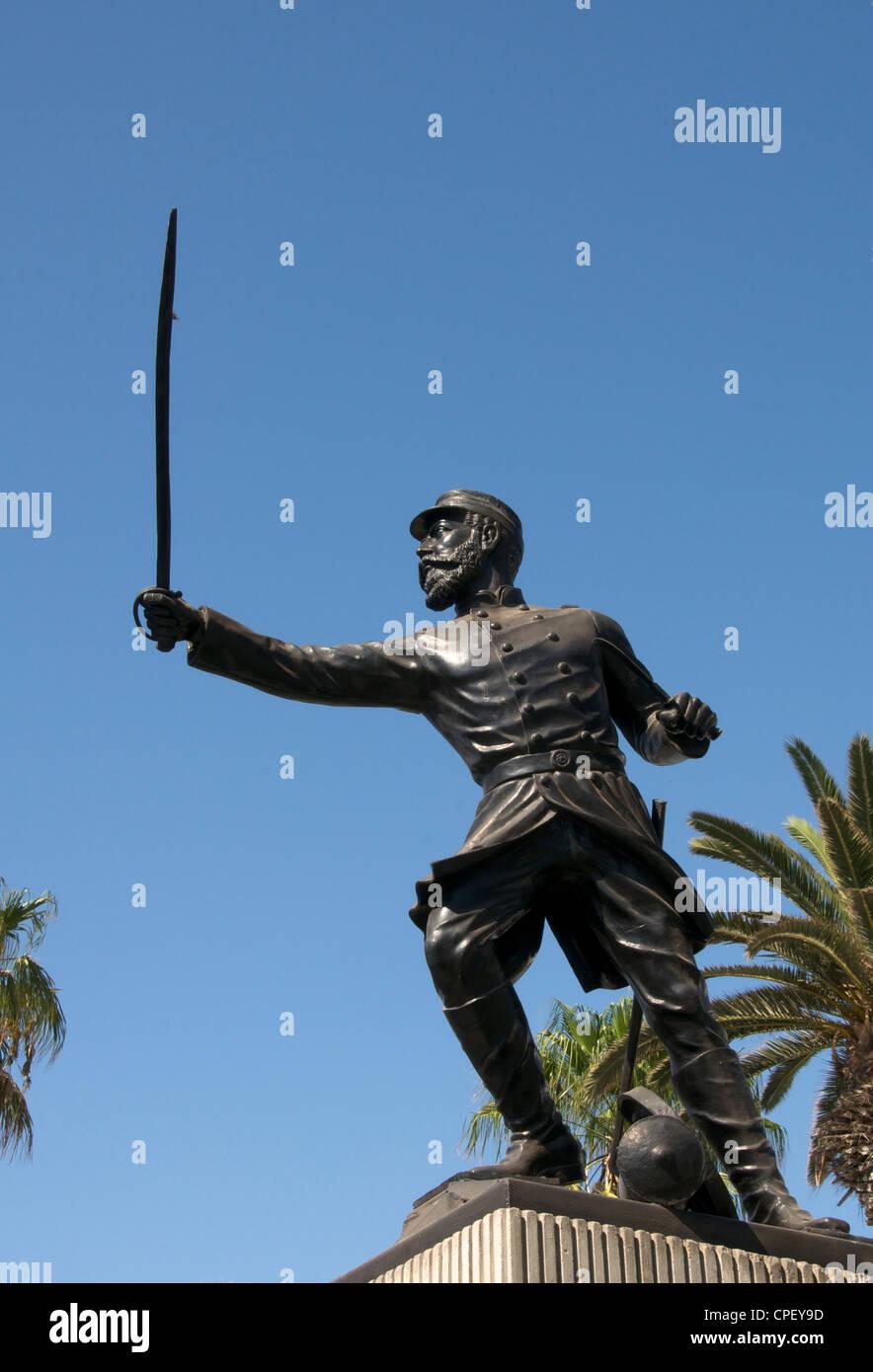 Statue Commander Juan San Martin 1880 - 1980 Arica Chile - Stock Image