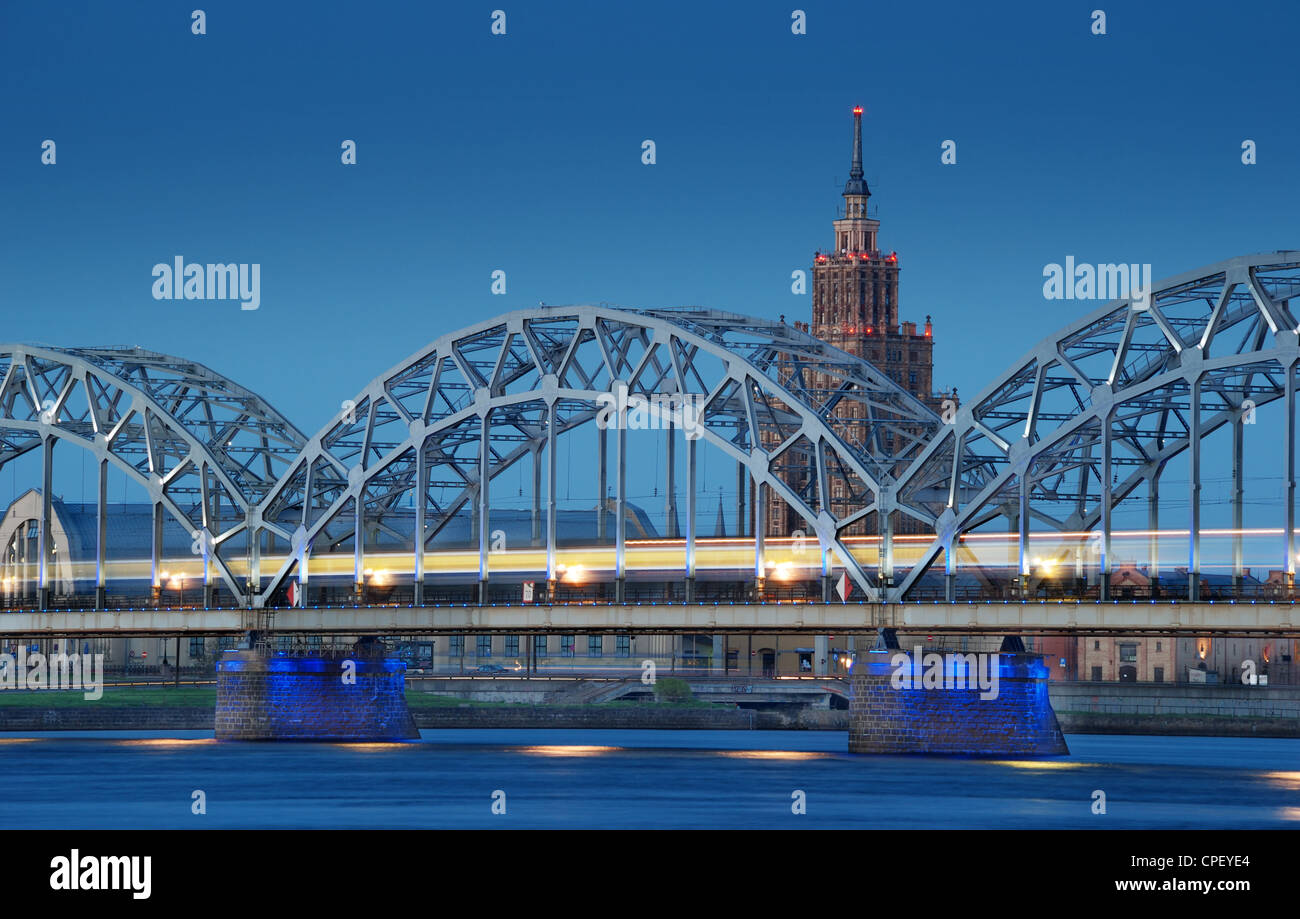 The railway bridge across Daugava river in Riga, Latvia. - Stock Image