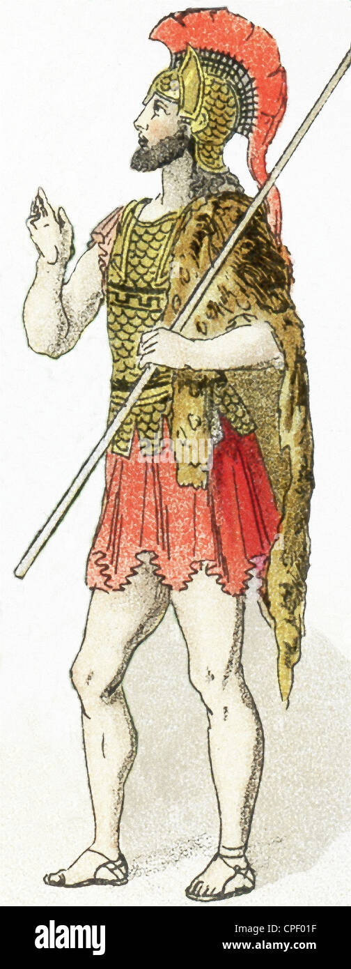The figure in this illustration, which dates to 1882, represents a warrior living in Asia Minor (present-day Turkey). - Stock Image