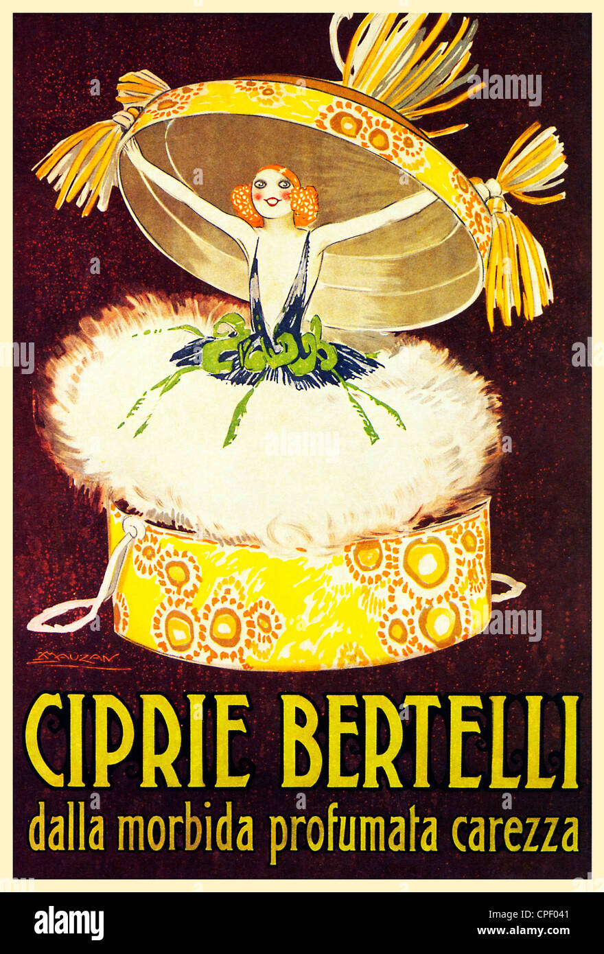 Ciprie Bertelli, 1921 poster for the Italian face powder, Scented Soft Caress, bursting out of its box - Stock Image