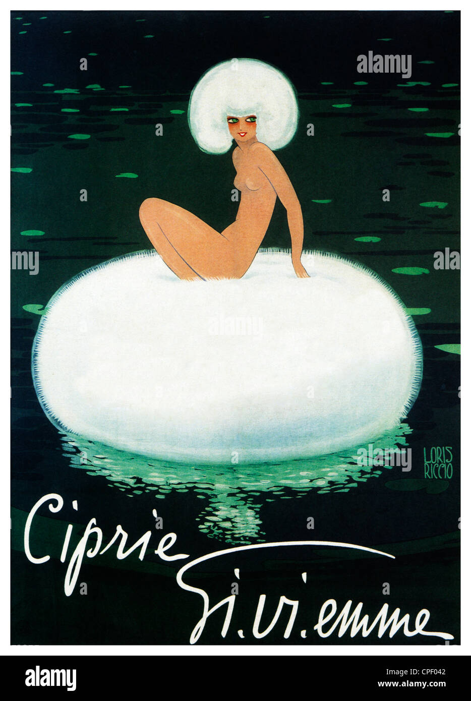 Ciprie Gi Vi Emme, 1920 Art Deco poster for the Italian face powder, puff floating on a lily pond - Stock Image