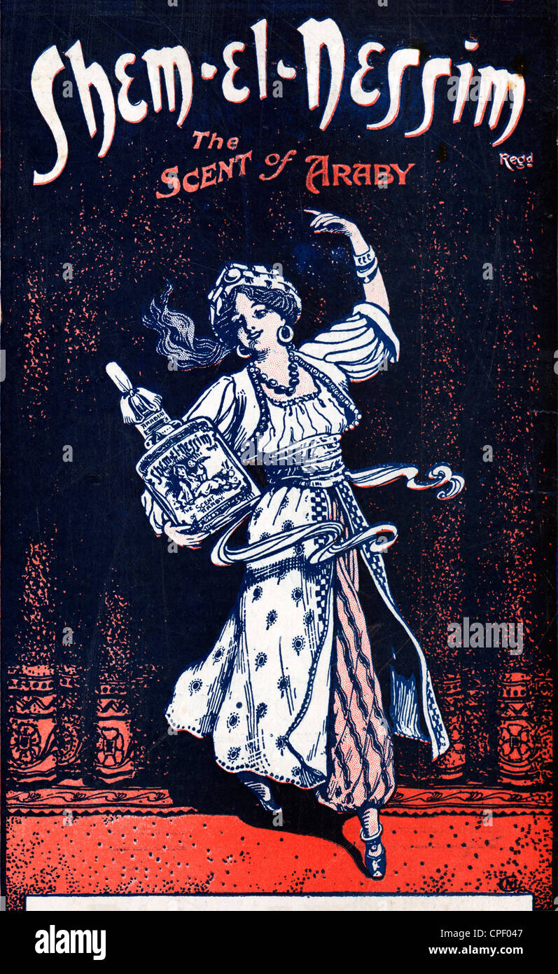 Shem-El-Nessim Perfume, 1911 advert for the Scent Of Araby, an Arab lady dances with the English scent - Stock Image