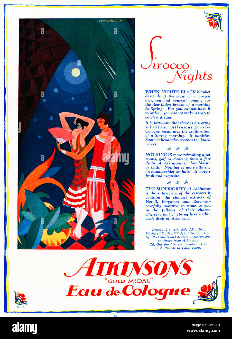 Sirocco Nights, Eau De Cologne, 1928 advert for Atkinsons scent, which recaptures the exhilaration of a Spring morning - Stock Image