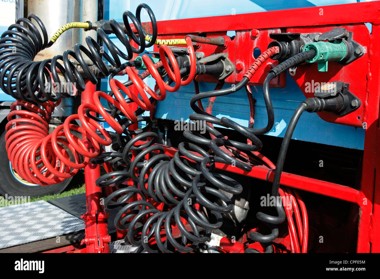 Hydraulic linkages on the rear of a tractor unit. Stock Photo