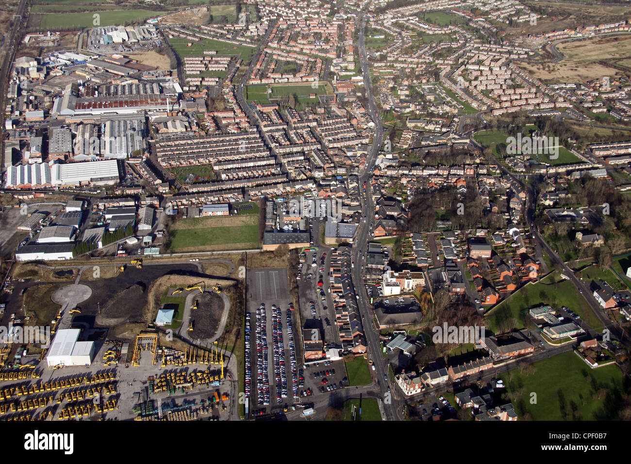 aerial view of Birtley in the Borough of Gateshead - Stock Image