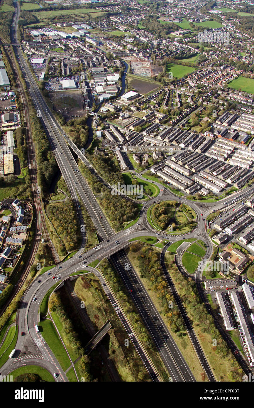 aerial view of junction 10 of the M65 turn off for Padiham and Burnley - Stock Image