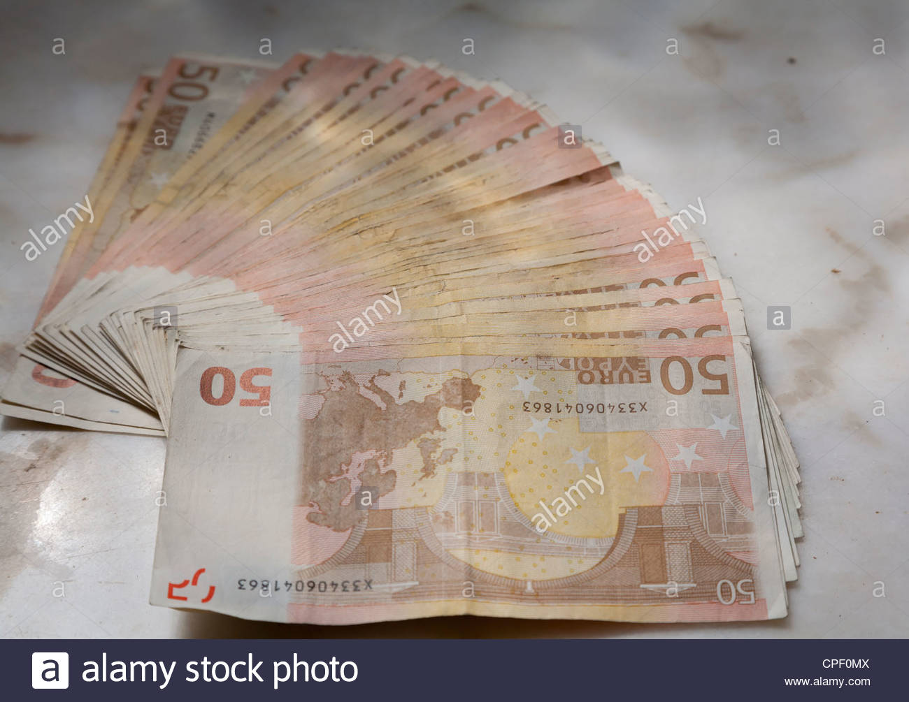 Spread Of 50 Euro Notes On Table Top Stock Photo 48273034 Alamy