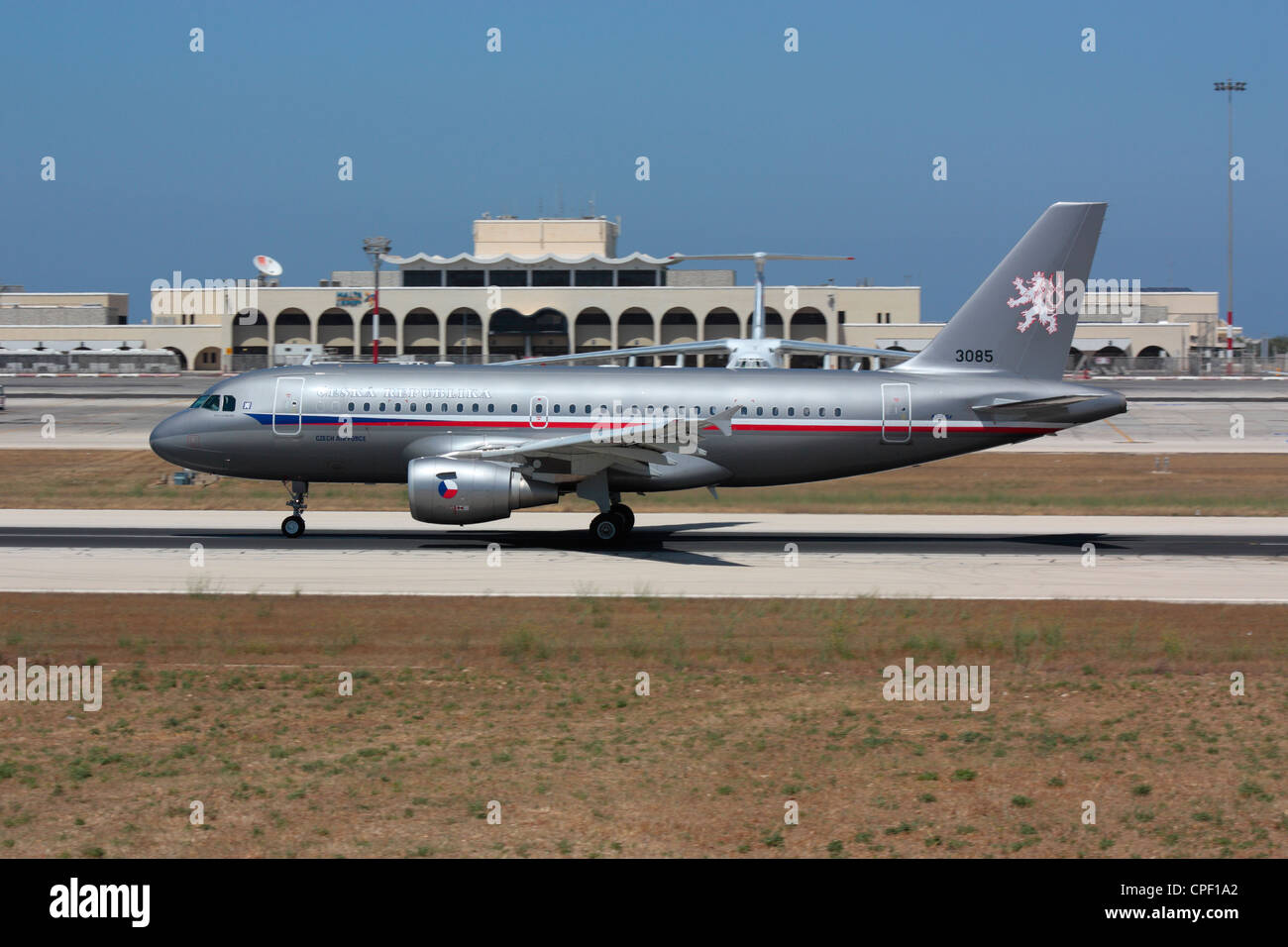 Czech Air Force Airbus A319CJ VIP transport on departure from Malta - Stock Image