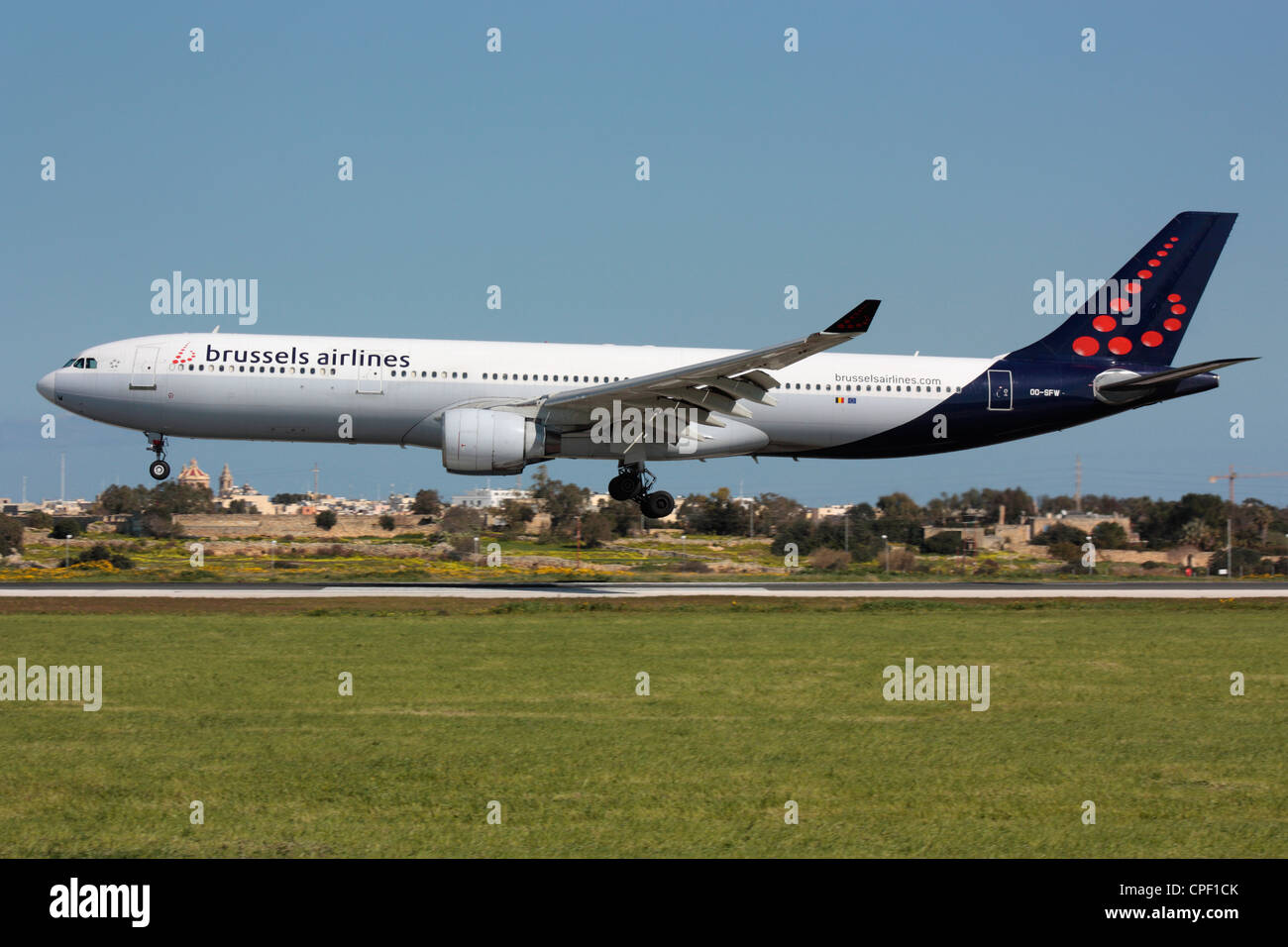 Brussels Airlines Airbus A330-300 arriving in Malta - Stock Image