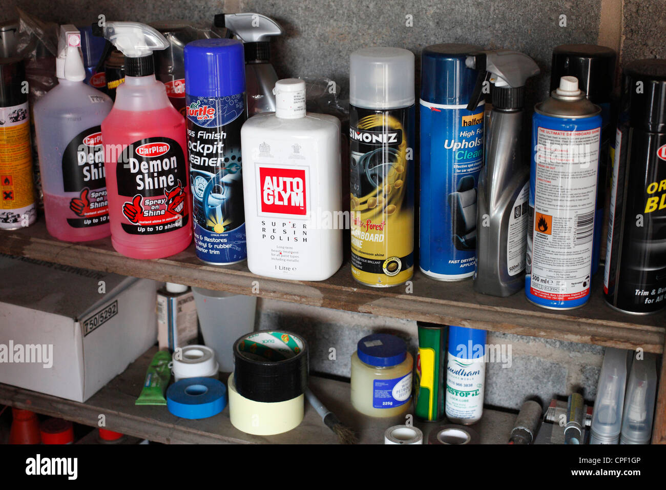 Car Cleaning Supplies >> Car Cleaning Products In A Garage Stock Photo 48273702 Alamy
