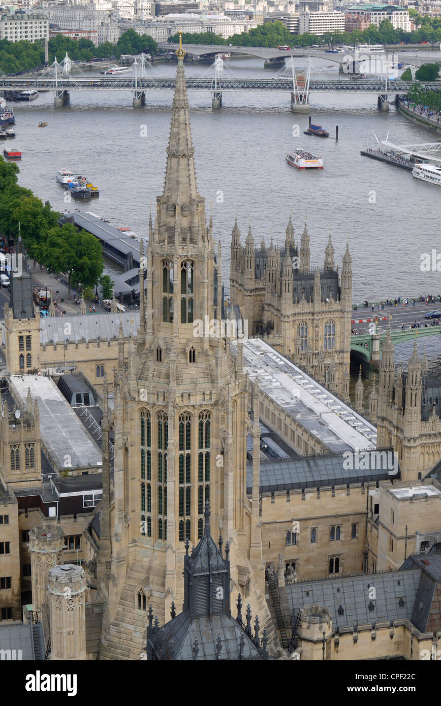 View of St Stephen's Tower and River Thames from Victoria Tower, Houses of Parliament, Palace of Westminster, London, Stock Photo