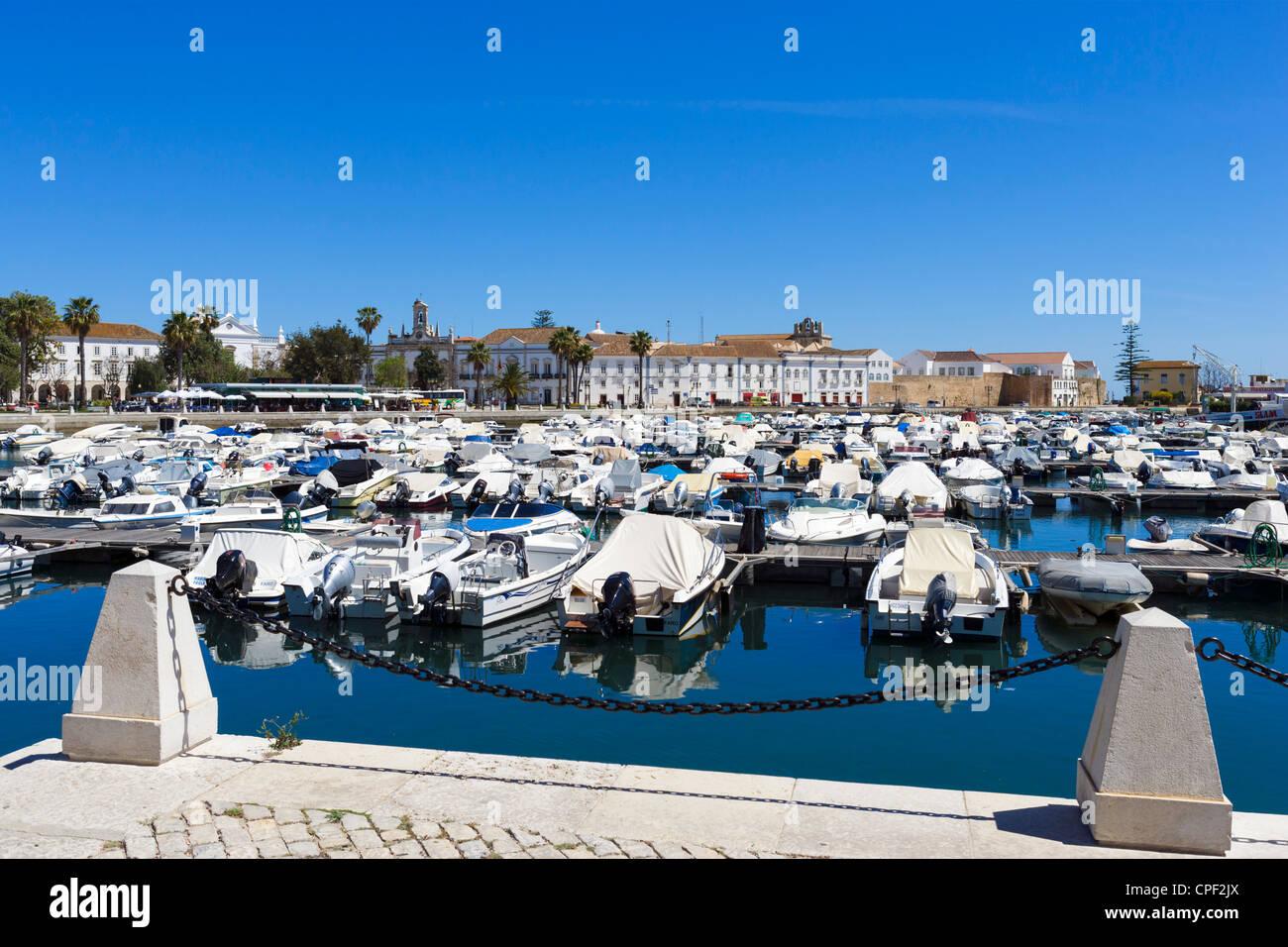 Marina looking towards the old town (Cidade Velha or Vila Adentro), Faro, Algarve, Portugal - Stock Image