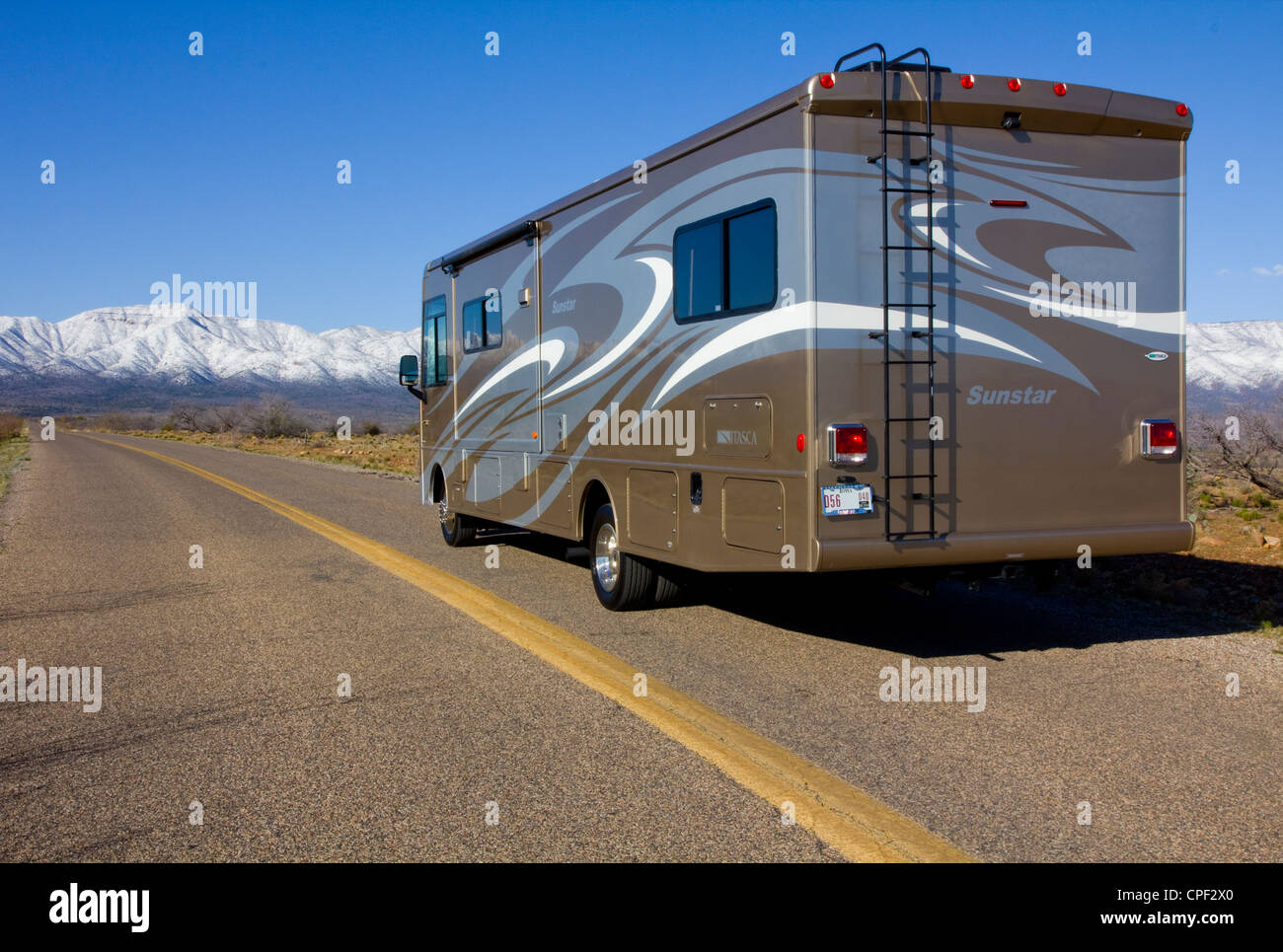 On the road to Jerome in our Itasca Sunstar 32K-- from our campsite at Verde Valley RV Resort, near Cottonwood, - Stock Image
