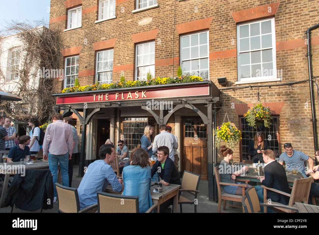 Beer garden of The Flask pub, Highgate, London, England, UK - Stock Image
