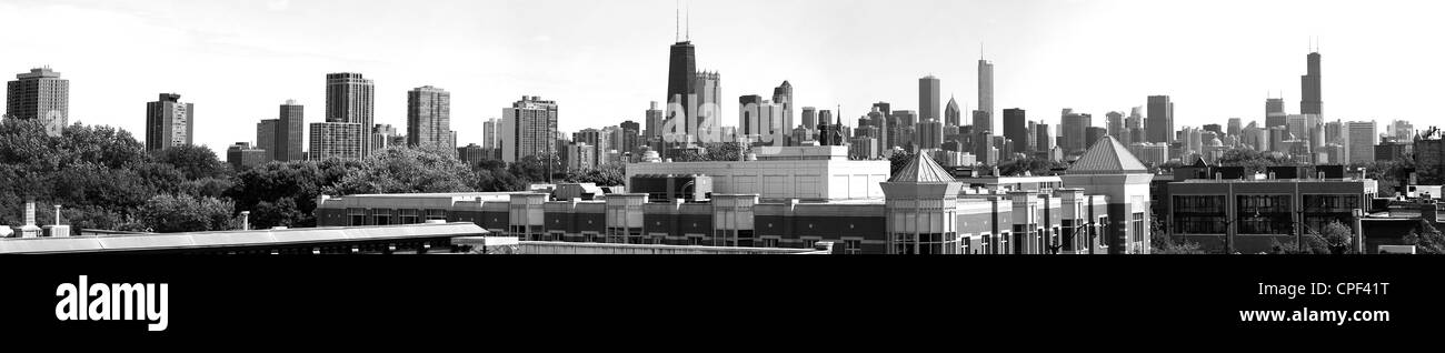 Chicago Skyline Panoramic in Black and White - Stock Image