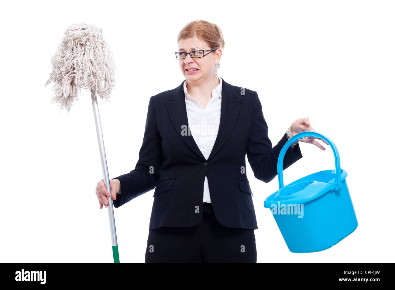 Unhappy disgusted businesswoman with bucket and mop, isolated on white background. - Stock Image