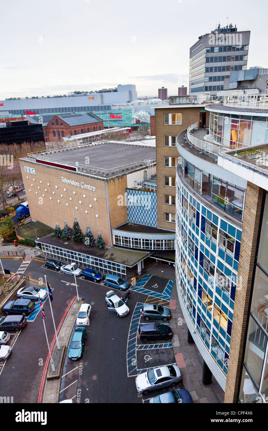 BBC Television Centre, Shepherds Bush, White City, London, looking down on studio TC1 with Westfield Shopping beyond. Stock Photo