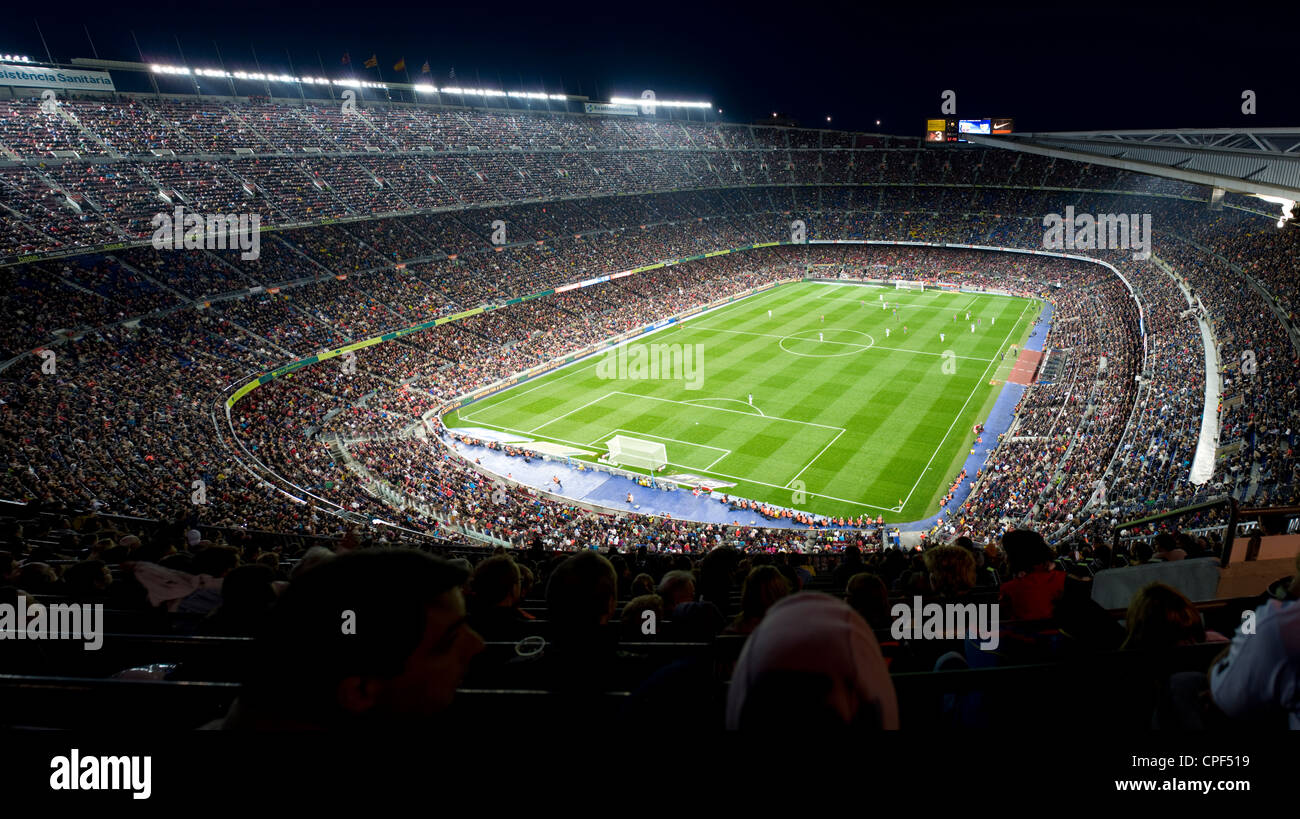 Panoramic view of Camp Nou football stadium of FC Barcelona in Barcelona, Catalonia, Spain. Stock Photo