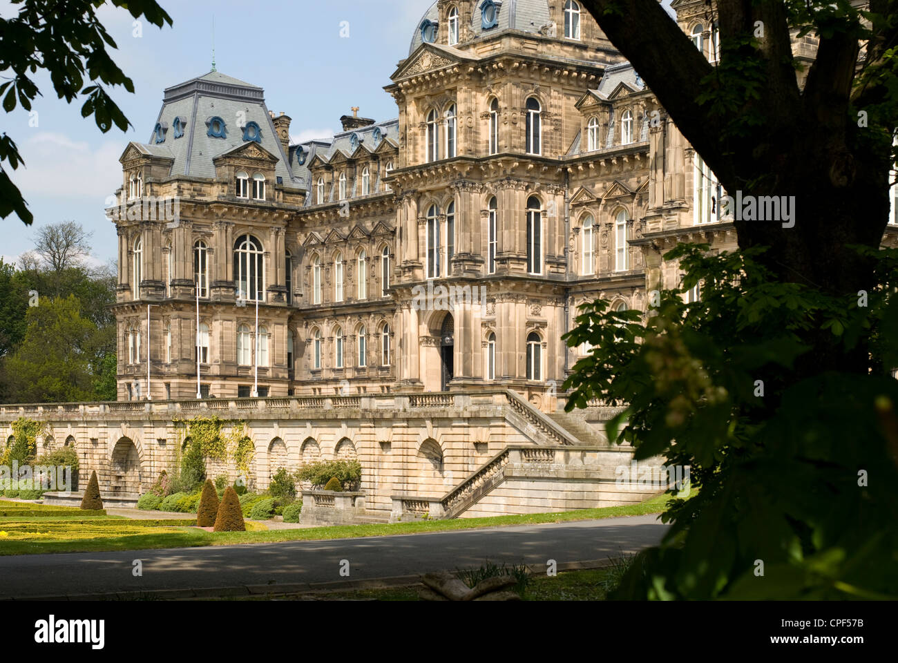 Front facade of Bowes Museum in Barnard Castle, County Durham - Stock Image