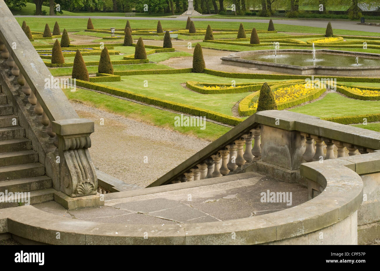 Formal gardens at Bowes Museum in Barnard Castle, County Durham - Stock Image