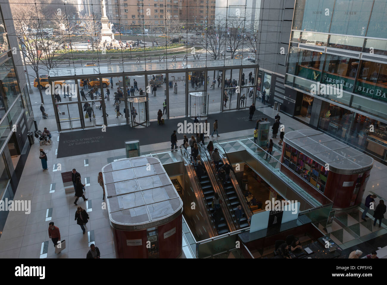 A view inside the atrium of the of the Time Warner Center, with Columbus Circle in the background, in New York City. Stock Photo