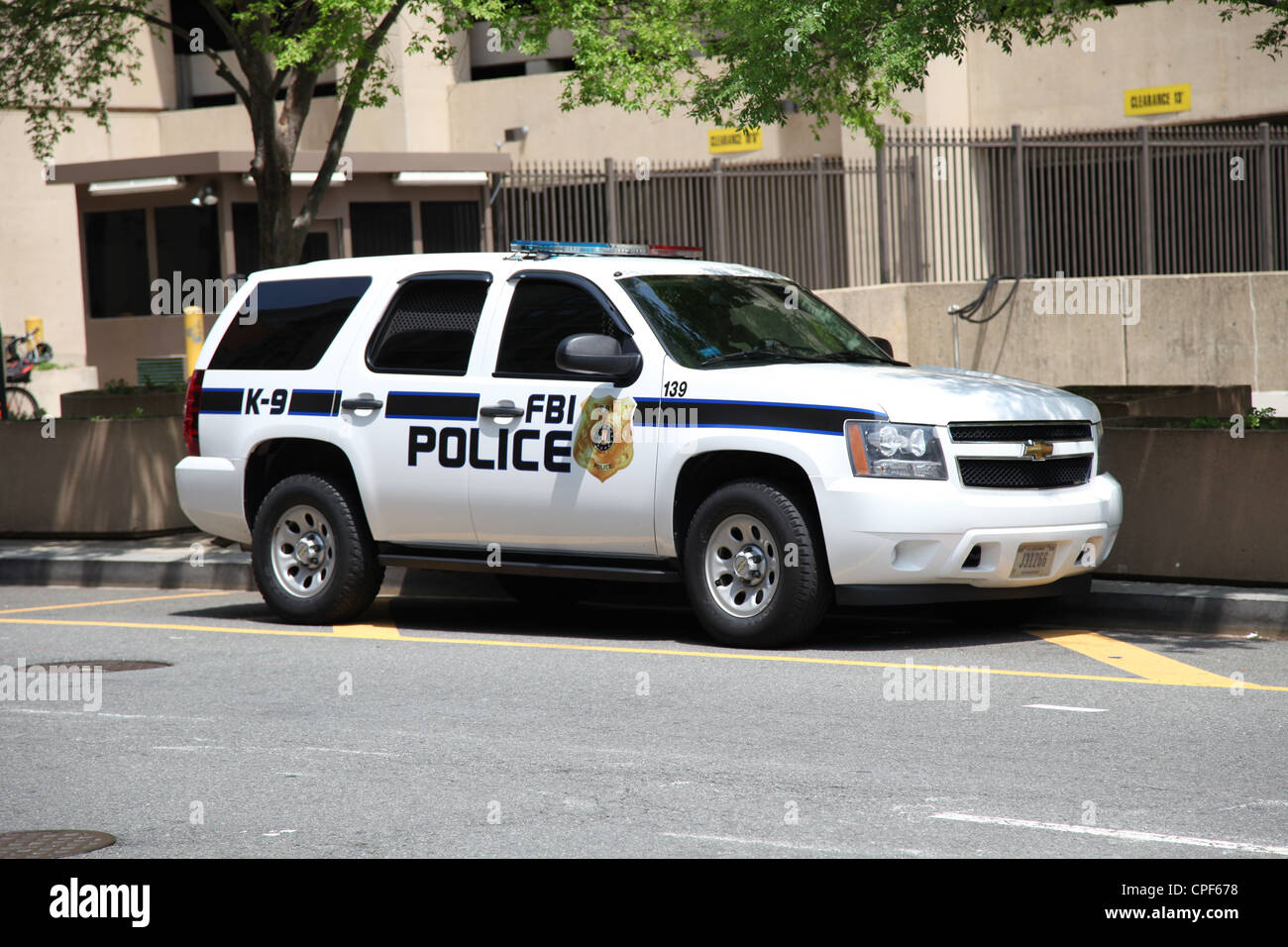 FBI Police Car Outside J.Edgar Hoover Building in Washington D.C. Stock Photo