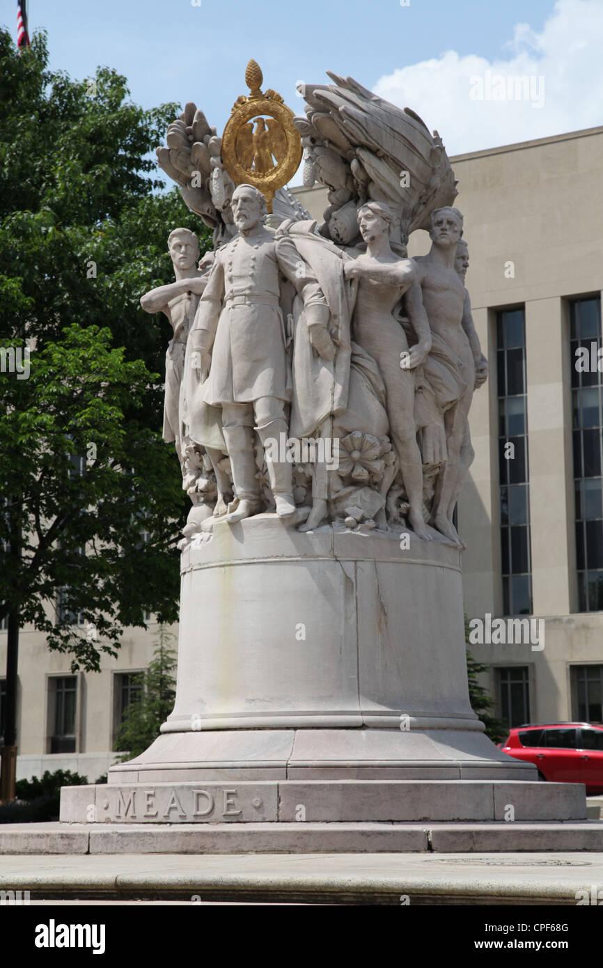 Statue of George Gordon Meade Washington D.C. District of Columbia Capital U.S.A - Stock Image