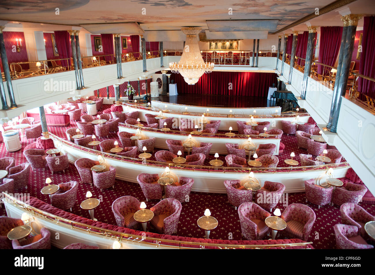 Kaisersaal or 'Emperor's Hall' aboard the super deluxe cruise liner MS Deutschland, operated by Reederei - Stock Image