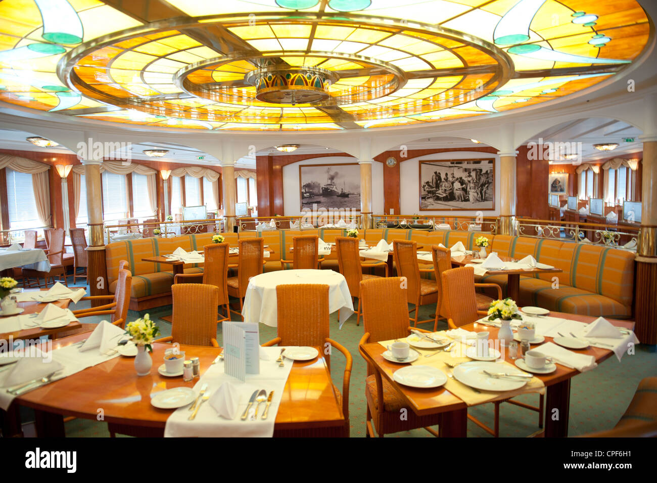 Lido Gourmet & Grill restaurant of the cruise liner MS Deutschland, star vessel of the ZDF tv serial Traumschiff - Stock Image