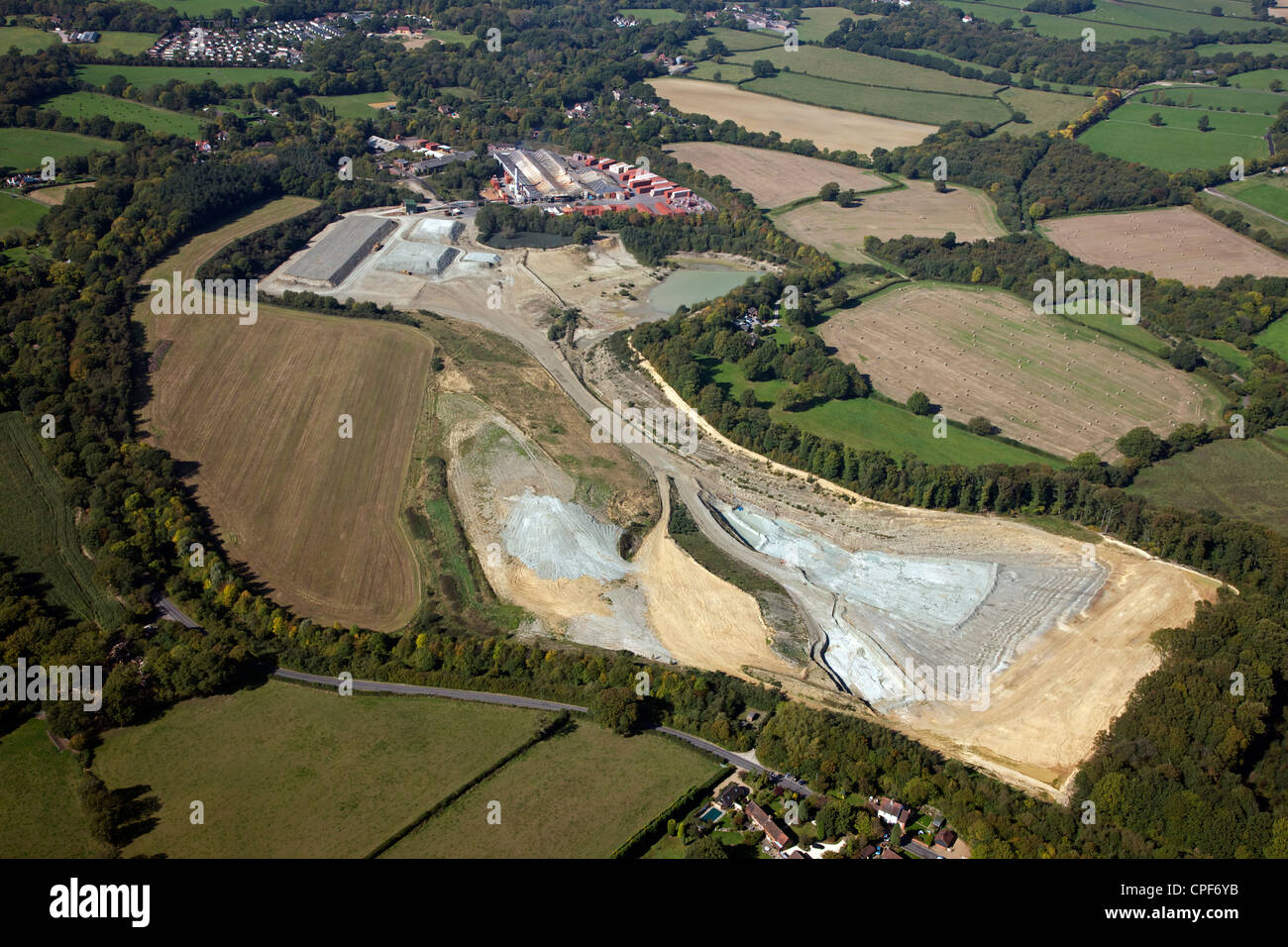 aerial view of Ibstock Brick quarry at Newdigate in Surrey - Stock Image