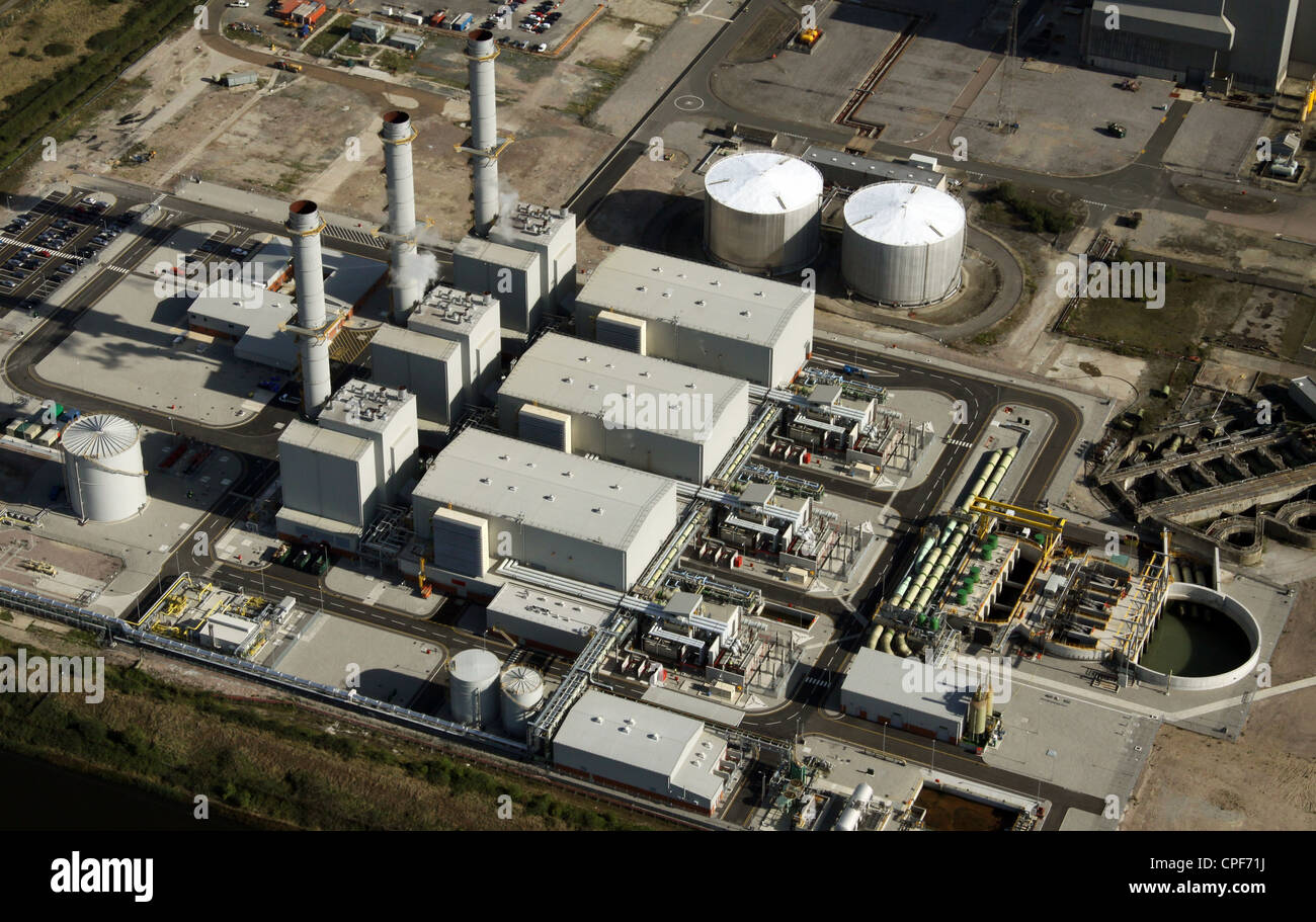 aerial view of a gas fueled power station at Grain, Kent - Stock Image
