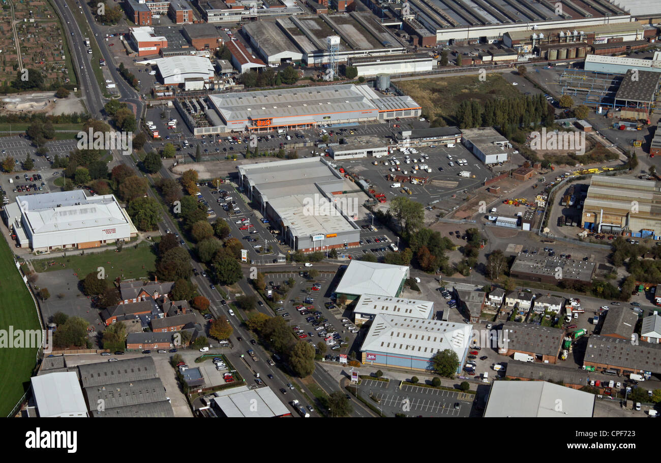 aerial view of a retail park in Hereford - Stock Image