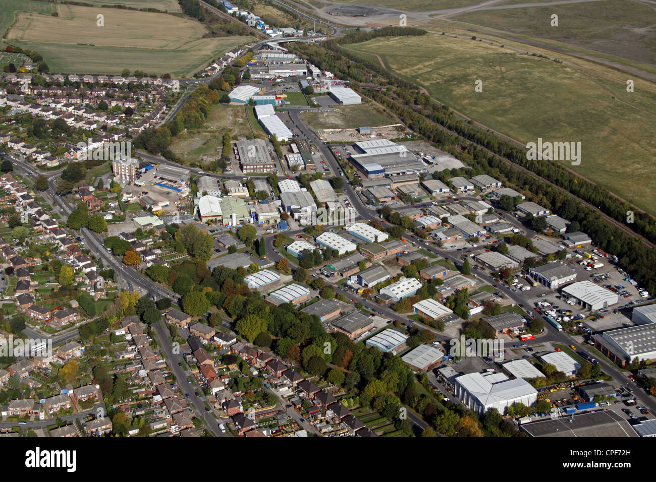 aerial view of Dore House Farm Industrial Estate at Orgreave, Sheffield - Stock Image