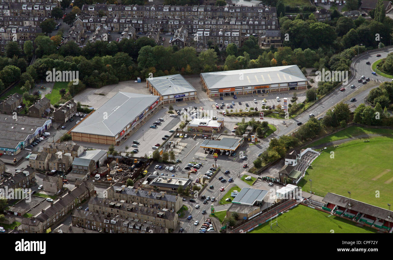 aerial view of Keighley Retail Park, West Yorkshire - Stock Image