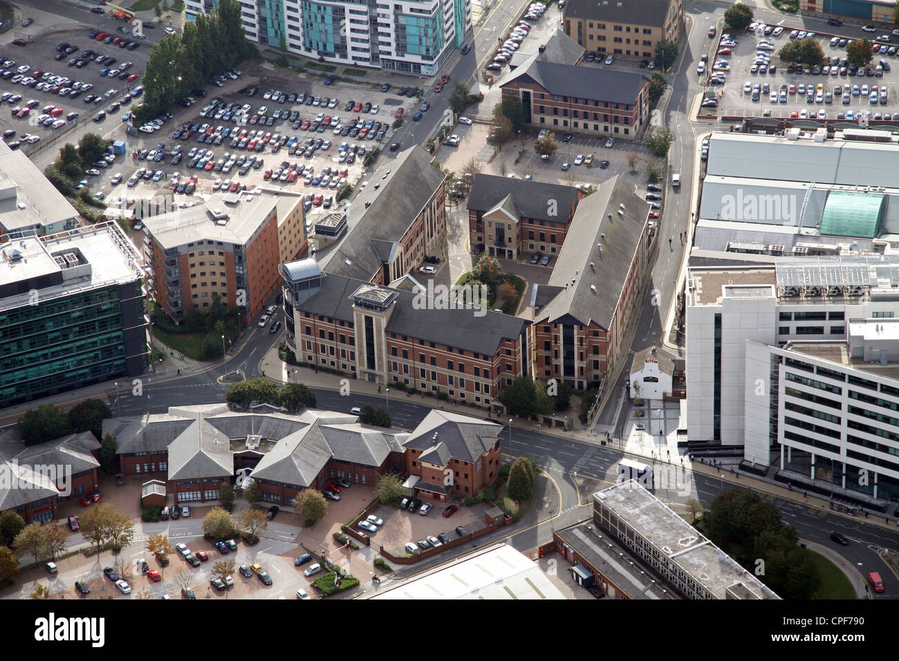 aerial view of the former Yorkshire Forward HQ on Victoria Road, Leeds - Stock Image