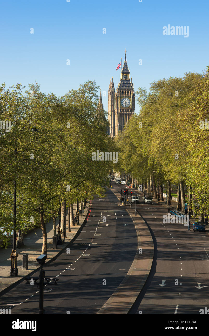 Victoria Embankment leading to the Houses of Parliament. London. UK. - Stock Image