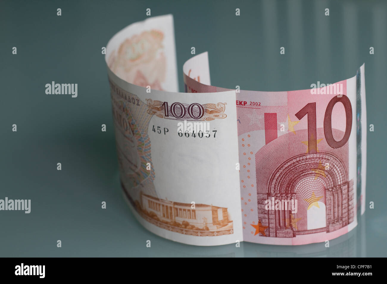 bank notes currency money cash drachma and euro, euros, drachmas are the previous currency of greece, euros - Stock Image
