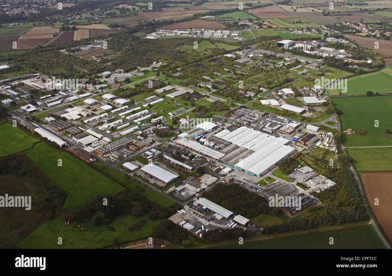 aerial view of Thorp Arch trading Estate near Wetherby - Stock Image