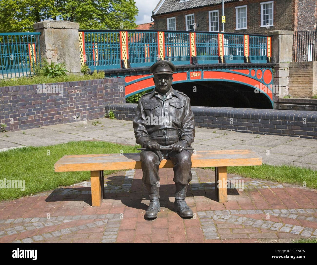 Statue of Captain Mainwaring, Arthur Lowe's   character Thetford Norfolk England - Stock Image