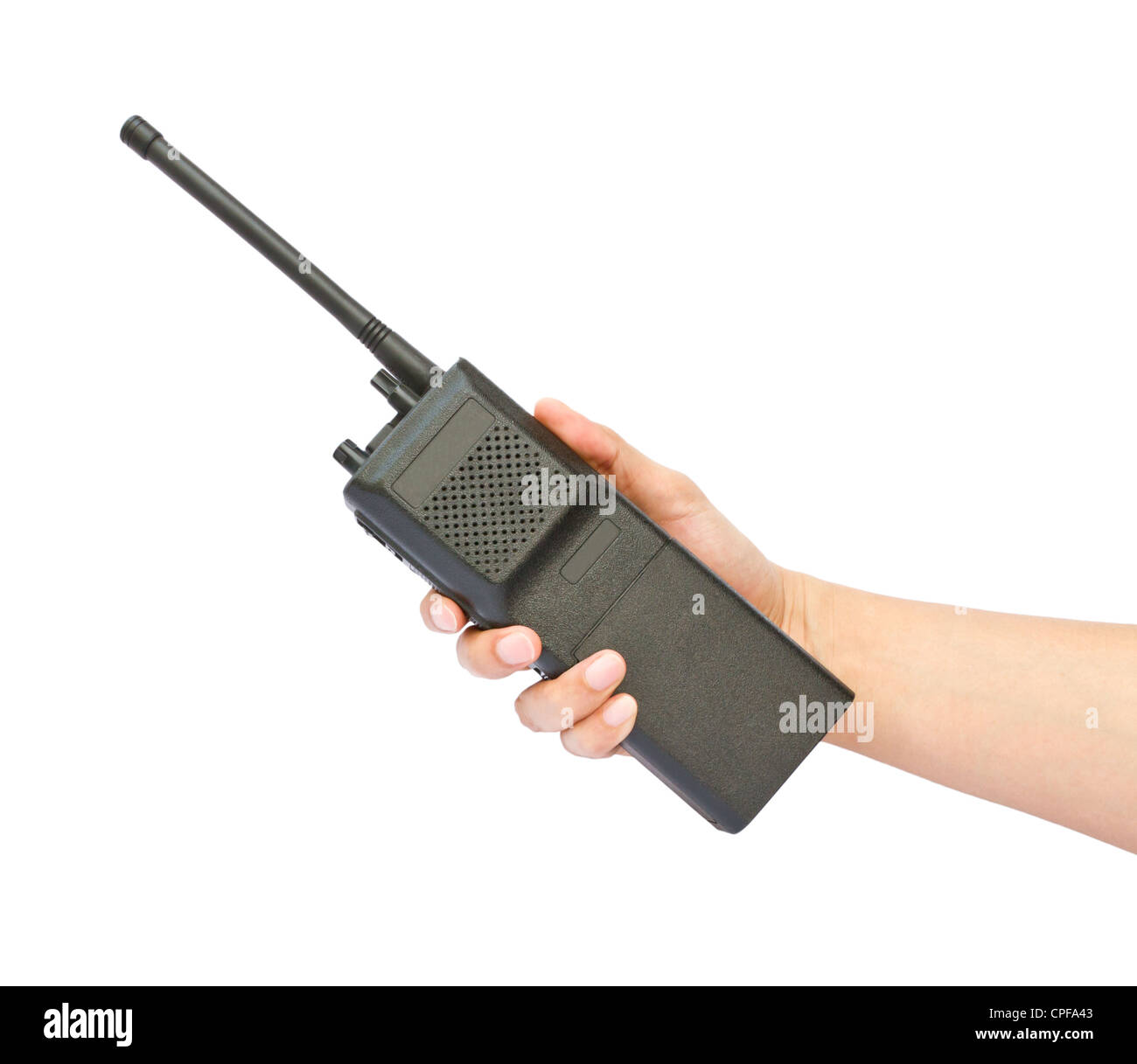 Hand holding walkie-talkie on white background - Stock Image