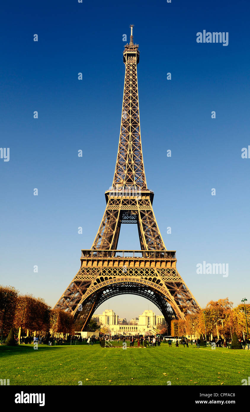View at Eiffel Tower from the Champs de Mars (Field of Mars) - Stock Image