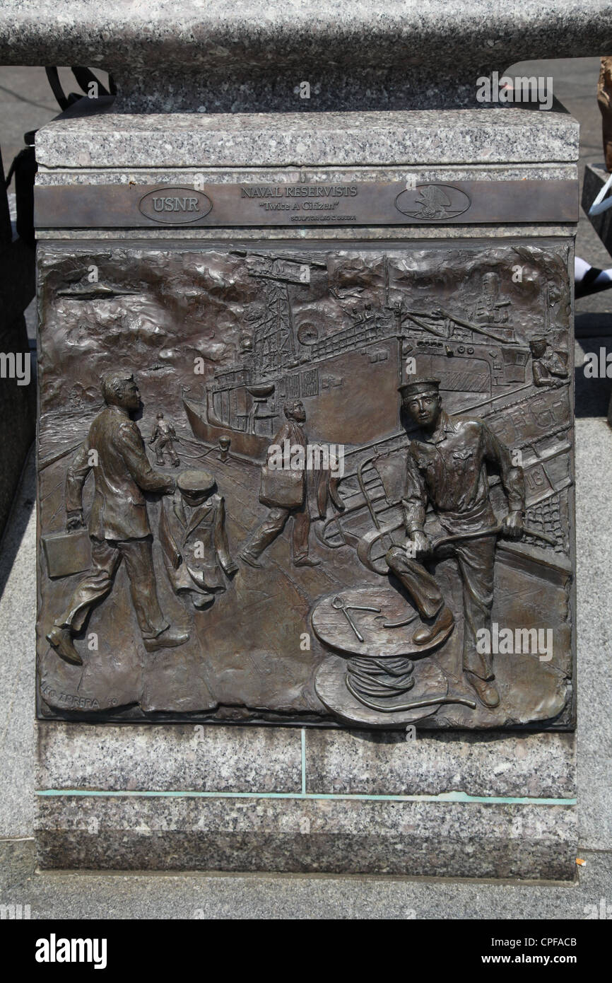 Bronze plaque outside the United States Navy Memorial in Washington, D.C. U.S.A. United States of America - Stock Image