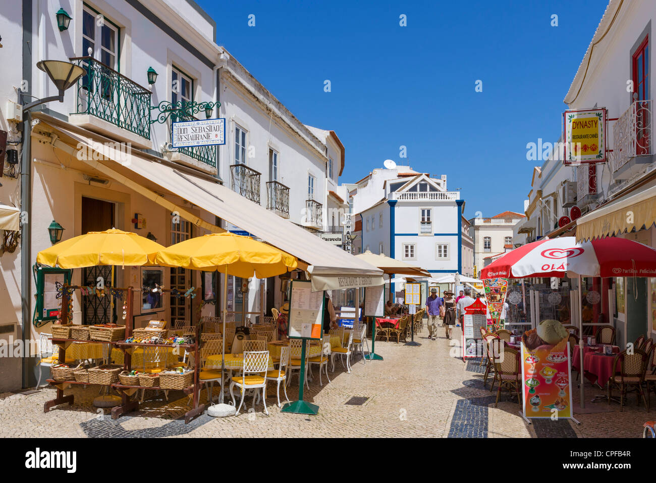 Restaurants and shops on rua de abril in the old town
