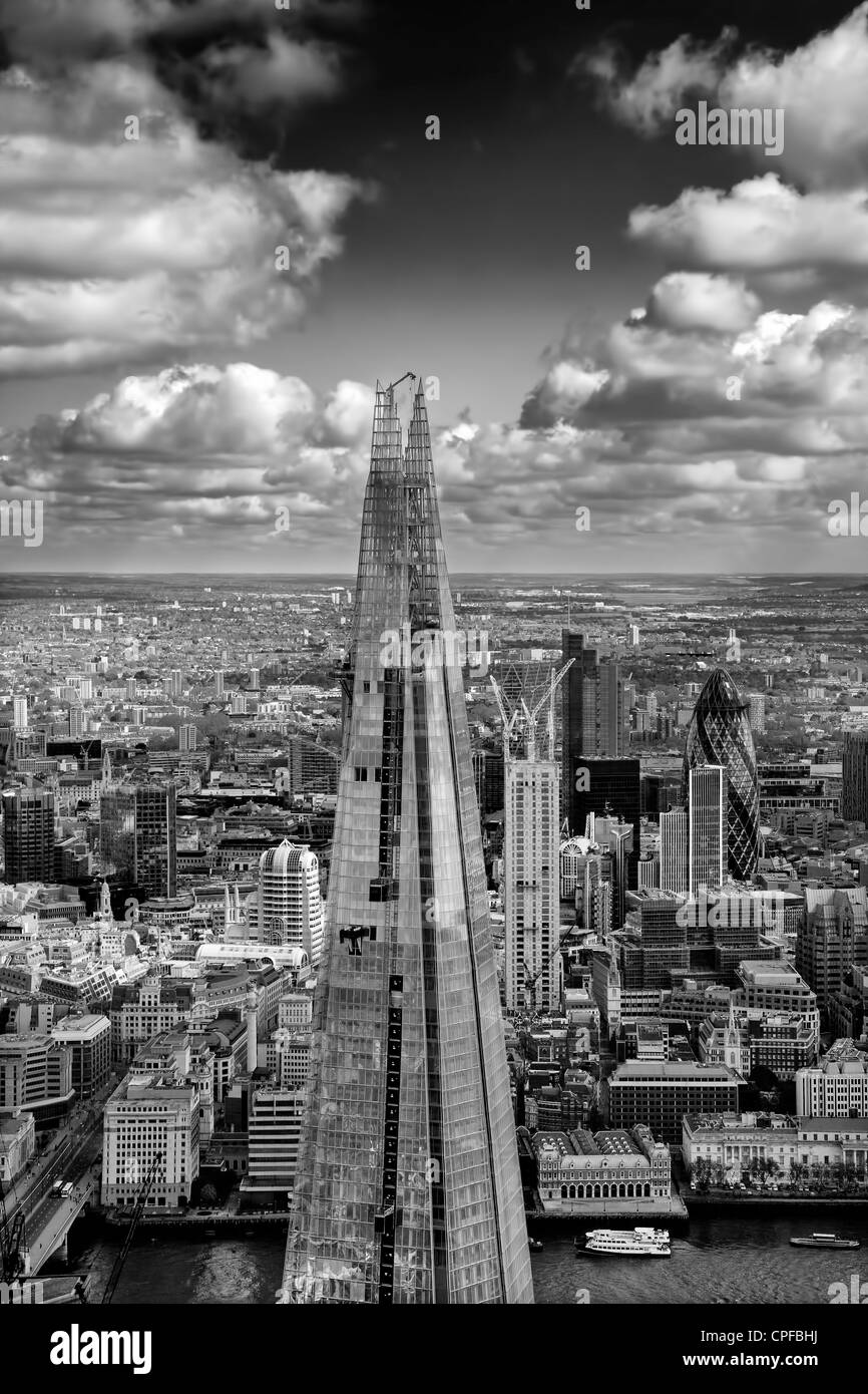 The Shard London from the air looking towards the City - Stock Image