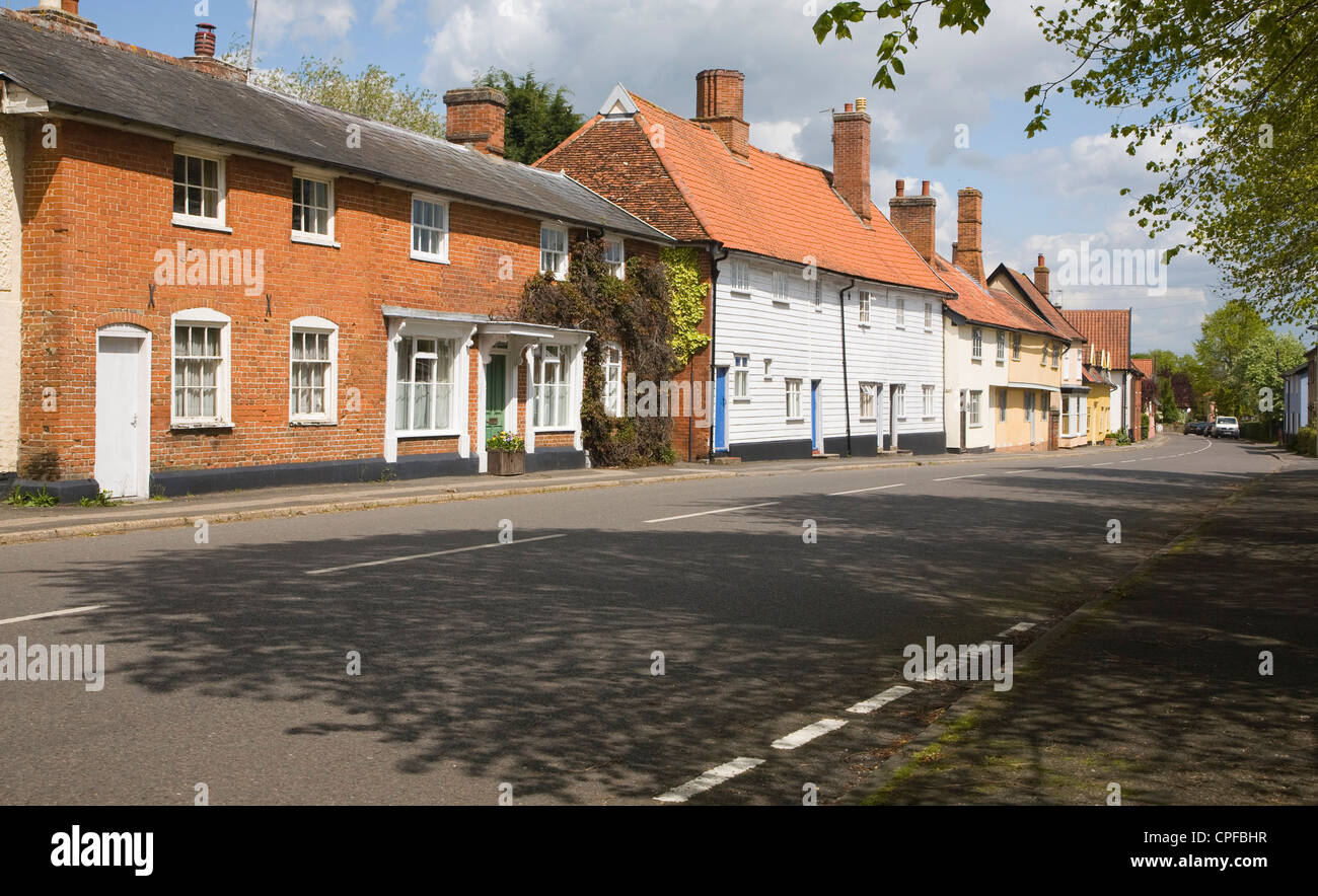 Attractive rural street housing village of Walsham le Willows, Suffolk, England - Stock Image