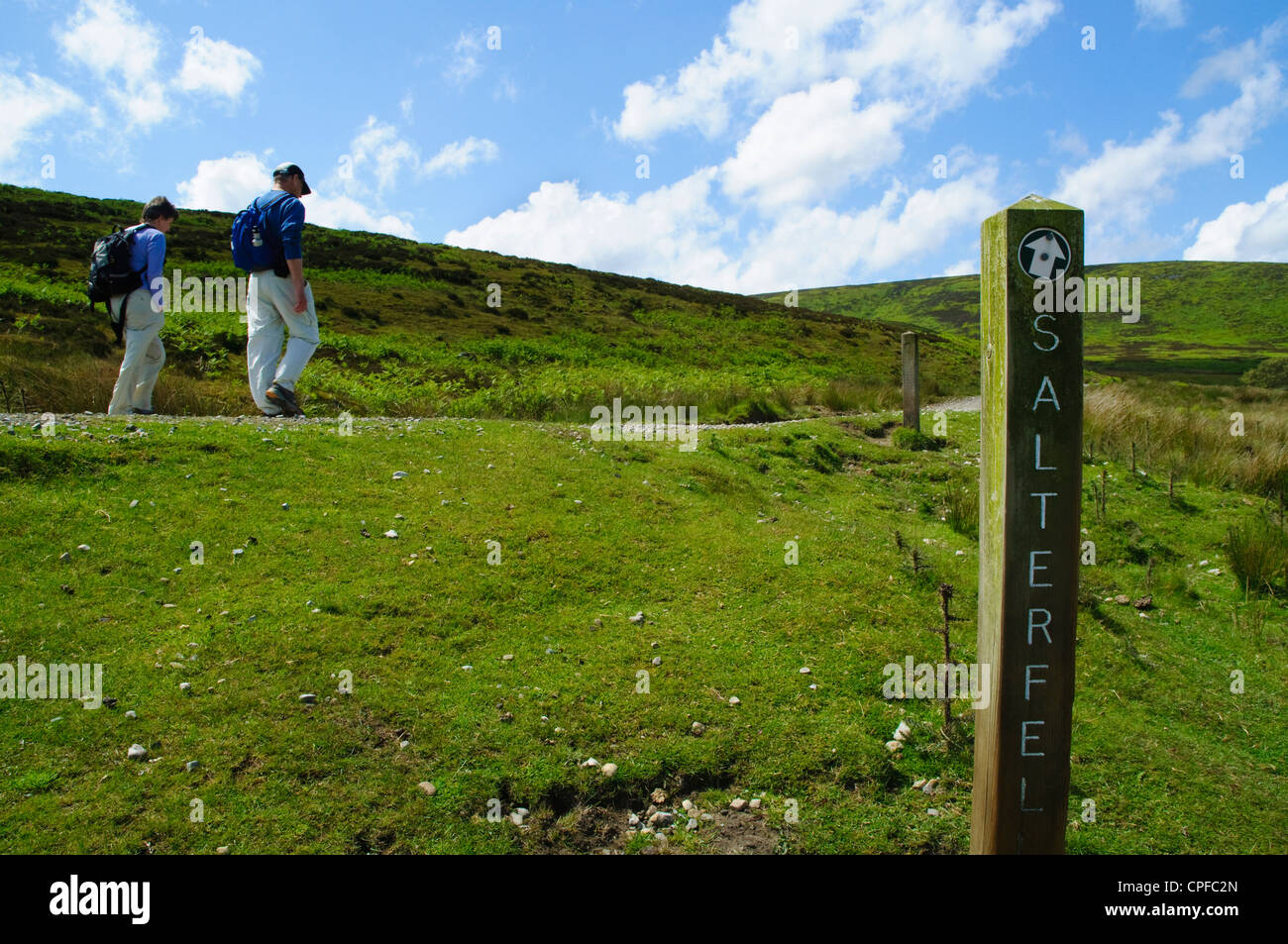 Walkers on Salter Fell track in the Forest of Bowland AONB - Stock Image
