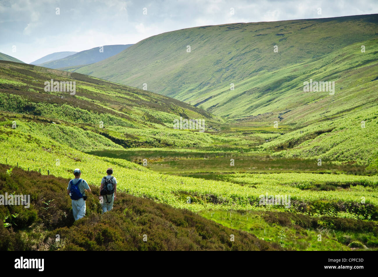 Walkers in Whitendale in the Forest of Bowland AONB - Stock Image